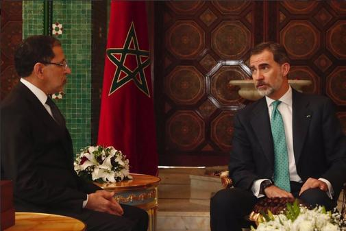 Felipe VI, con Mohamed VI, durante su visita el pasado mes de febrero...