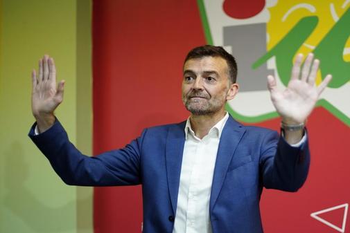 El ex coordinador regional de IU, Antonio Maíllo, en la rueda de prensa en la que anunció su marcha.