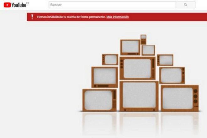 """El canal de Vox aparece """"inhabilitado de forma permanente""""."""