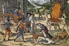 Teodoro de Bry ilustró las supuestas torturas de españoles a indios americanos.