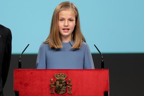 La Princesa Leonor, durante la lectura de la Constitución con motivo...