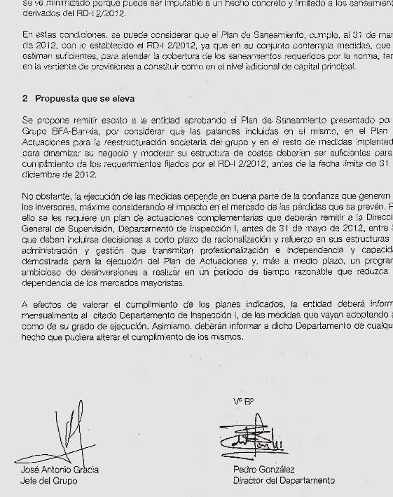 Extracto del informe de 13 de abril de los jefes de la Inspección a la Comisión Ejecutiva proponiendo aprobar el plan de Rato tal y como quería la cúpula