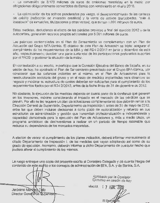 Extracto de la carta de 17 de abril de la cúpula del Banco de España a Rato comunicándole que su plan había sido aprobado