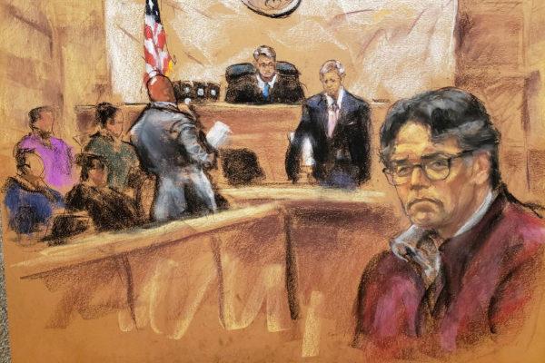 Ilustración  que muestra a Keith Raniere durante su juicio en Nueva York.