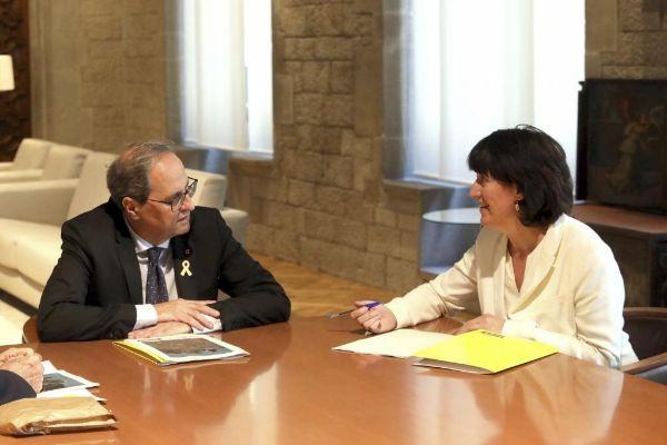 El president Quim Torra con Elisenda Paluzie (ANC).