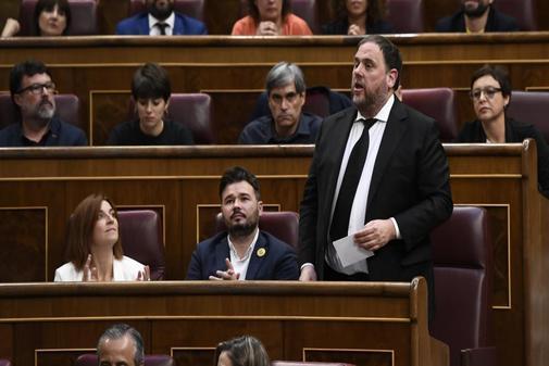 El líder de ERC, Oriol Junqueras, durante la sesión constitutiva de la XIII Legislatura.