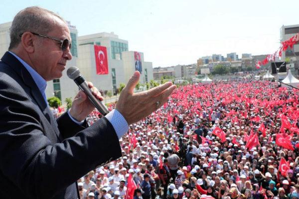 Turkish President Erdogan speaks during an opening ceremony in...