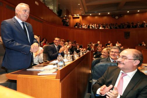 Javier Sada y Javier Lambán, en la constitución del Parlamento de Aragón