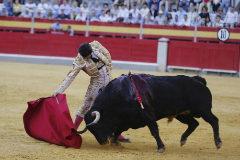 Enfibrado y encajado derechazo de José Garrido al cuarto toro de Núñez de Tarifa
