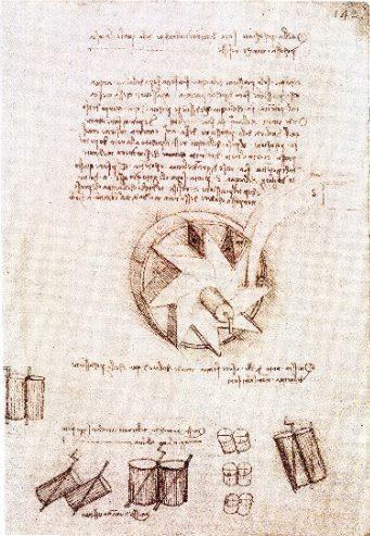 Estudio de un molino de agua (1493-1497). Pluma y tinta. Pertenece a la Biblioteca Nacional de Madrid (España).
