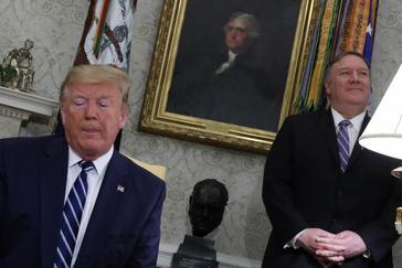 El presidente de EEUU, Donald Trump, junto al secretario de Estado, Mike Pompeo.