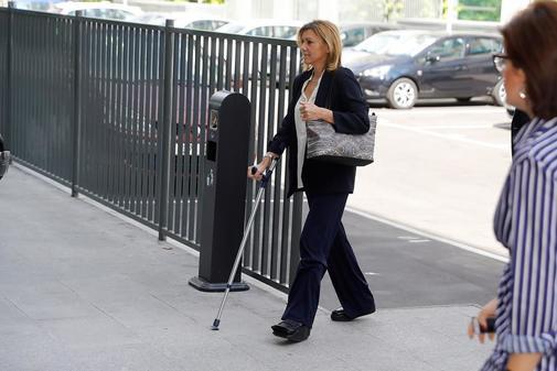 María Dolores de Cospedal, a su llegada al juzgado madrileño para declarar por los ordenadores del PP