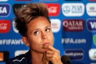 GRAFCVA5449 VALENCIANNES.-.La jugadora de la selección española, <HIT>Amanda</HIT> <HIT>Sampedro</HIT>, al inicio de la rueda de prensa que ha ofrecido en el Stade Hainaut (Valenciennes) donde mañana se enfrentan a la selección alemana durante su segundo partido del Mundial de Fútbol que se juega en Francia.