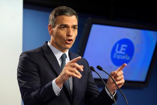 Pedro Sánchez, en rueda de prensa en Bruselas