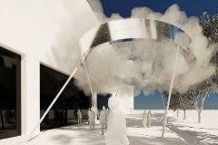 Sobre estas líneas, artefacto creado por el grupo de arquitectura Aranea para el IVAM;en la imagen de abajo, la nube que pulveriza la explanada del museo.