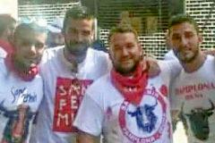 Ángel Boza, Antonio Manuel Guerrero, José Ángel Prenda, Alfonso Jesús Cabezuelo y Jesús Escudero, en los Sanfermines de 2016.