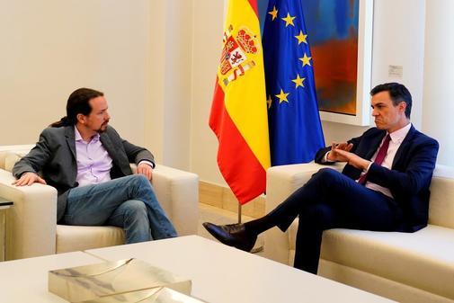 Reunión en Moncloa entre Pablo Iglesias (Unidas Podemos) y Pedro...