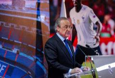 GRAF970. MADRID.- El presidente del Real Madrid, <HIT>Florentino</HIT> <HIT>Pérez</HIT>, durante su intervención en el acto de presentación del francés Ferland Mendy como nuevo jugador del equipo, este miércoles en el Santiago Bernabéu.