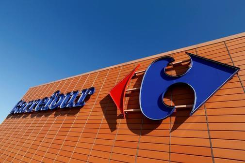 Logotipo de Carrefour en una de sus grandes superficies en Tolouse, en Francia.