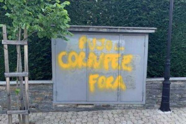 Pintada frente al domicilio de Oriol Pujol.