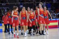 Las jugadoras de la selección, durante uno de los últimos amistosos, en Fuenlabrada.