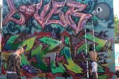 Uno de los muros pintados en el 'graffiti jam' homenaje.