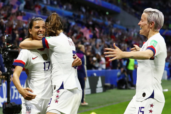 LE HAVRE, FRANCE - JUNE 20: Tobin Heath of the <HIT>USA</HIT> celebrates with teammates after scoring her team's second goal during the 2019 <HIT>FIFA</HIT> Women's World Cup France group F match between Sweden and <HIT>USA</HIT> at Stade Oceane on June 20, 2019 in Le Havre, France. (Photo by Martin Rose/Getty Images)
