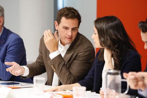 Albert Rivera e Inés Arrimadas, durante la reunión del Comité Ejecutivo de Ciudadanos.