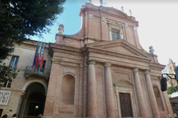 Fachada de la Universidad de Perugia, Italia.