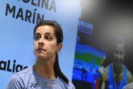 """GRAF3676. MADRID.- <HIT>Carolina</HIT> <HIT>Marín</HIT>, campeona olímpica, triple campeona del <HIT>mundo</HIT> y cuatro veces campeona de Europa de bádminton, durante la rueda de prensa que ofreció este lunes en Madrid para hablar de su recuperación y del próximo Mundial. <HIT>Marín</HIT> ha afirmado que tiene """"en mente jugar el Mundial"""", que se disputa del 19 al 25 de agosto en Basilea (Suiza), aunque no sabe aún si llegará."""