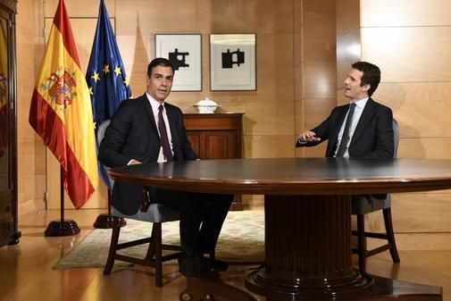 Sánchez y Casado, reunidos el pasado 11 de junio en el Congreso