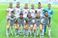 Spain's players pose ahead of the France 2019 Women's World Cup Group B football match between China and Spain, on June 17, 2019, at the Oceane Stadium in Le Havre, northwestern France. (LtoR, from upper row) Spain's midfielder Virgina Torrecilla, Spain's defender Irene Paredes, Spain's midfielder Patricia Guijarro, Spain's defender Maria Pilar Leon, Spain's forward Jennifer <HIT>Hermoso</HIT>, Spain's goalkeeper Sandra Panos, Spain's forward Lucia Garcia, Spain's midfielder Marta Corredera, Spain's forward Nahikari Garcia, Spain's forward Mariona Caldentey and Spain's defender Leila Ouahabi. (Photo by LOIC VENANCE / AFP)