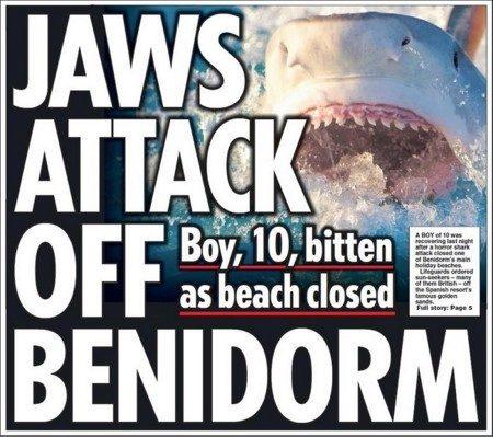 """La noticia sobre el """"tiburón"""" de Benidorm, tal y como apareció publicada en la portada del Daily Star"""