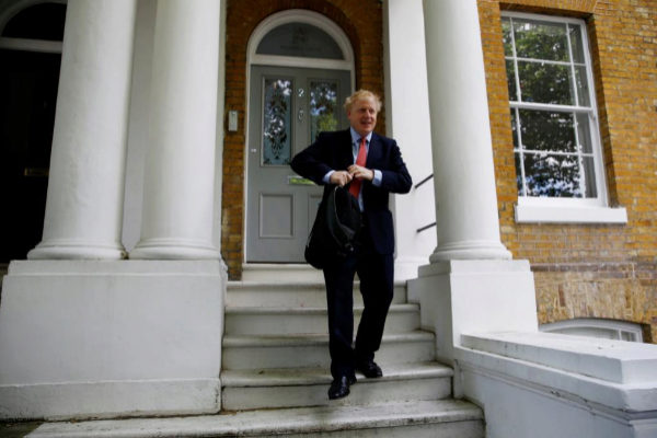 FILE PHOTO: PM hopeful <HIT>Boris</HIT> <HIT>Johnson</HIT> leaves his home in London