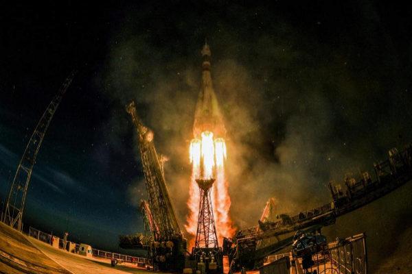 Un momento del despegue de la nave que envió a los tres astronautas a la Estación Espacial el pasado mes de diciembre.