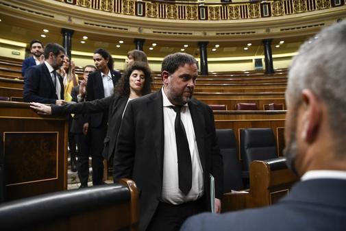 Oriol Junqueras, en el Congreso, durante la constitución de las Cortes