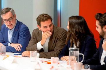 José Manuel Villegas, Albert Rivera, Inés Arrimadas y Fernando de Páramo, durante la Ejecutiva Nacional de Ciudadanos