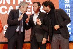 Luis Garicano, Albert Rivera y Toni Roldán, en un acto de Ciudadanos, en febrero de 2018