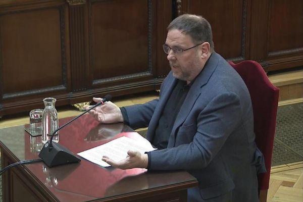 Oriol Junqueras, durante una sesión del juicio del 'procés'.