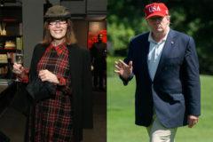 E. Jean Carroll, en una imagen de archivo, y Donald Trump, llegando a la Casa Blanca, el domingo.