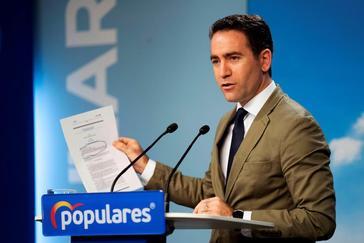Teodoro García Egea, en rueda de prensa en la sede de Génova