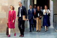 Quim Torra junto a miembros de su Gabinete en la reunión semanal del Govern