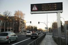Los semáforos de la A-5 cuando entraron en vigor.