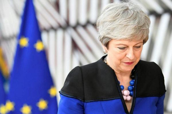 La primer ministra Theresa May, en Bruselas.