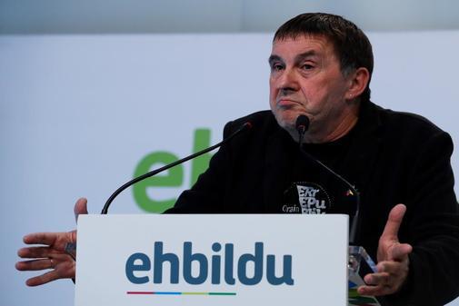 Arnaldo Otegi, coordinador general de Bildu, en una comparecencia en San Sebastián.