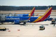 Varios Boeing 737 MAX esperan en el Aeropuerto de Baltimore (EEUU) para poder volver a operar.