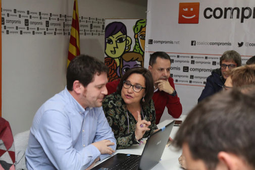 Ali Brancal, junto a su compañero Ignasi Garcia, que lideró la lista de Compromís al Ayuntameinto de Castellón.