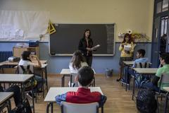 Alumnos de sexto de Primaria en un colegio público de Madrid.