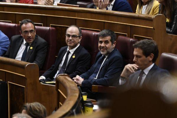 Los diputados de Junts Per Catalunya, Jordi Turull, Josep Rull y Jordi Sánchez.