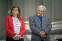 Sandra Gómez y Joan Ribó durante un acto en el Ayuntamiento.